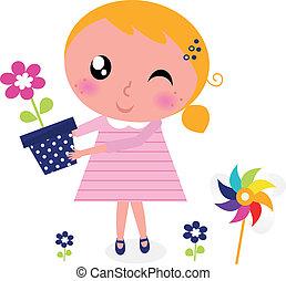 schattig, bloem, lente, vrijstaand, meisje, witte