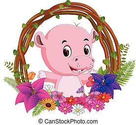 schattig, bloem, nijlpaard, frame, boom wortel