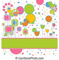 schattig, bloemen, begroetende kaart, vogels