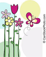 schattig, bloemen, en, vlinder, vector