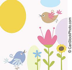 schattig, bloemen, en, vogels