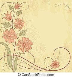 schattig, bloemen, kaart