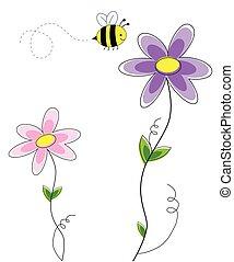 schattig, bloemen, met, bij