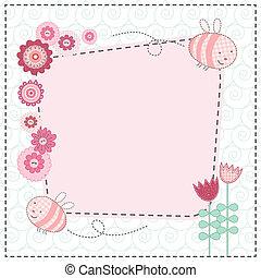 schattig, bloemen, mooi en gracieus, bijtjes