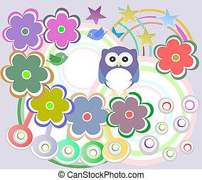 schattig, bloemen, vakantie, kaart, uil