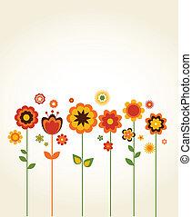 schattig, bloemen, vector, begroetende kaart