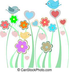 schattig, bloemen, vogels, achtergrond