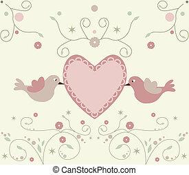 schattig, bloemen, vogels