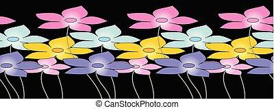 schattig, bloemenrand, seamless