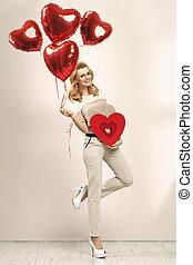 schattig, blonde, ballons, meisje, bos