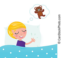 schattig, blonde , kind, slapende, en, dromen ongeveer, teddy beer