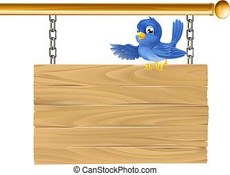 schattig, bluebird, zittende , op, hangend, si