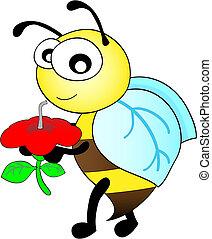 schattig, boeiend, slokje, bloem, bij