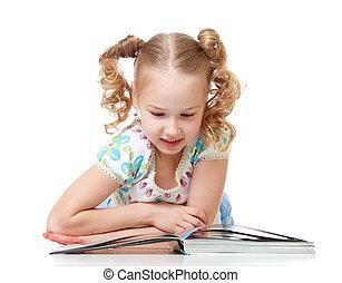 schattig, boek, lezende , geitje, vrolijke