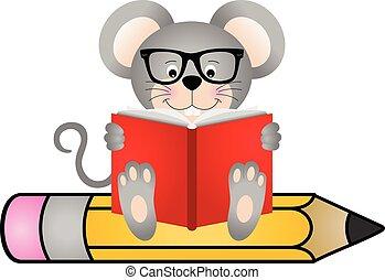 schattig, boek, muis, lezende , zittende