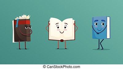 schattig, boekjes , set, karakters