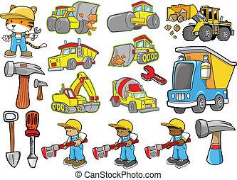 schattig, bouwsector, vector, set
