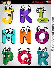 schattig, brieven, spotprent, illustratie, alfabet