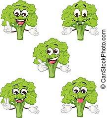 schattig, broccoli, karakter, set, ., spotprent, vector, illustratie