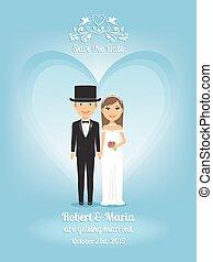 schattig, bruidegom, uitnodiging, bruid, trouwfeest,...