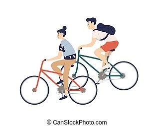 schattig, buiten, bicycles., jonge, fietsen, activity., style., vrijstaand, sporten, achtergrond., paardrijden, witte , plat, vrouw, kleurrijke, paar, illustratie, spotprent, man, jongen, romantische, meisje, gedresseerd, vector