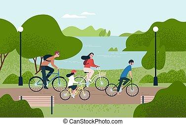 schattig, buiten, gezin, bicycles., fietsen, samen., mamma, activity., style., cycling, sporten, park., ouders, paardrijden, papa, plat, kleurrijke, vrije tijd, illustratie, spotprent, geitjes, kinderen, vector