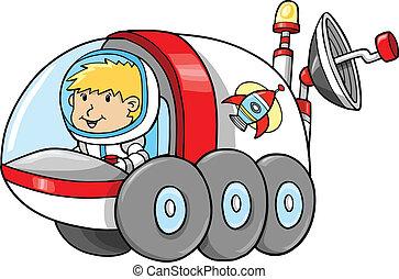 schattig, buitenste ruimte, buggy, maan, vector