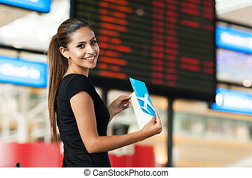 schattig, businesswoman, het reizen, door, lucht