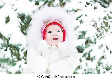 schattig, c, zittende , smling, volgende, jas, warme, baby meisje, witte
