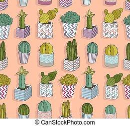 schattig, cactus, pattern., seamless