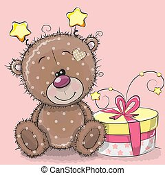 schattig, cadeau, teddy, groet, beer, kaart