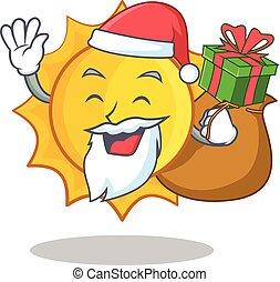 schattig, cadeau, zon, karakter, kerstman, spotprent