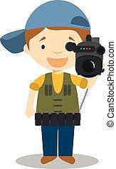 schattig, cameraman, vector, spotprent, illustratie