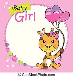 schattig, card., douche, giraffe, baby meisje, ballons