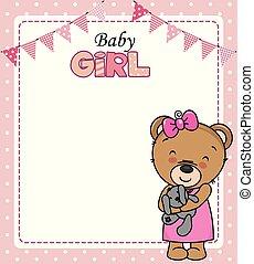 schattig, card., teddy beer, douche, baby meisje