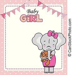 schattig, card., teddy, douche, elefant, baby meisje
