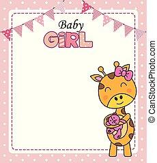 schattig, card., teddy, douche, giraffe, baby meisje