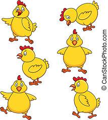 schattig, chicken, set, spotprent