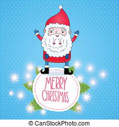 schattig, claus, spotprent, kerstman, kerstmis kaart
