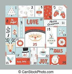 schattig, communie, advent, versiering, kalender, kerstmis
