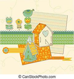schattig, communie, -, huisen, vector, ontwerp, plakboek, vogel