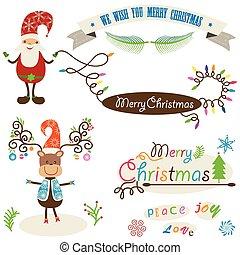 schattig, communie, kleurrijke, hertje, set, kerstman, kerstmis