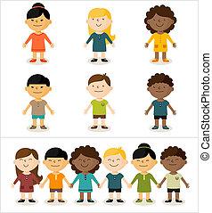 schattig, communie, passen, zijn, multicultureel, changed, -, illustratie, layout., vector, children.all, gemakkelijk, het glimlachen, jouw, groenteblik