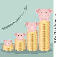 schattig, concept, bar, vorm, goud, zijn, geld, muntjes, tabel, piggy, besparing, stapel, bank