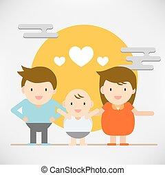 schattig, concept, liefde, gezin, mensen, abstract, vrede, karakter, paar, geluk, vrolijke