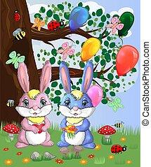 schattig, concept, liefde, lente, jongen, glade., twee, meisje, bos, konijntje