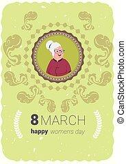 schattig, concept, maart, groet, vrouwen, 8, senior, vakantie, dame, dag, kaart, vrolijke