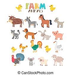 schattig, dieren, boerderij, set., vector, spotprent