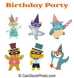 schattig, dieren, dancing, maskerade, verjaardagsfeest