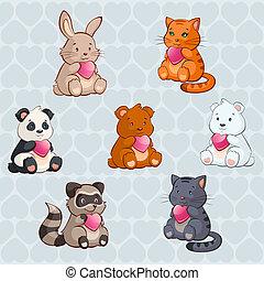 schattig, dieren, -, illustratie, valentijn, vector, vasthoudende baby, hartjes, dag